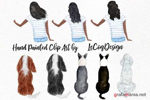 Watercolor Girls with Dogs clipart - 3697717
