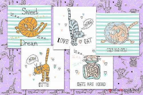Funny cats in a cute style - 246119