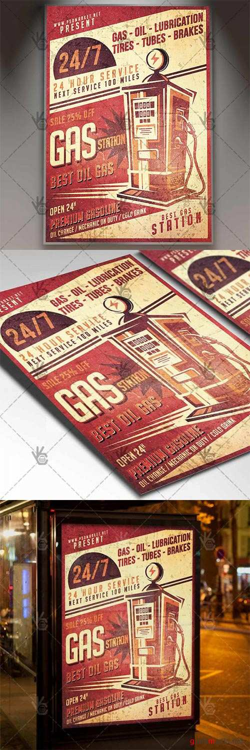Vintage Gas Station – Business Flyer PSD Template