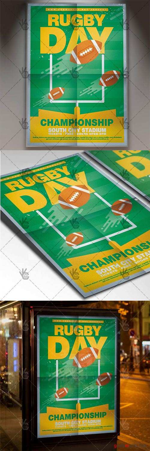 Rugby Day – Sport Flyer PSD Template