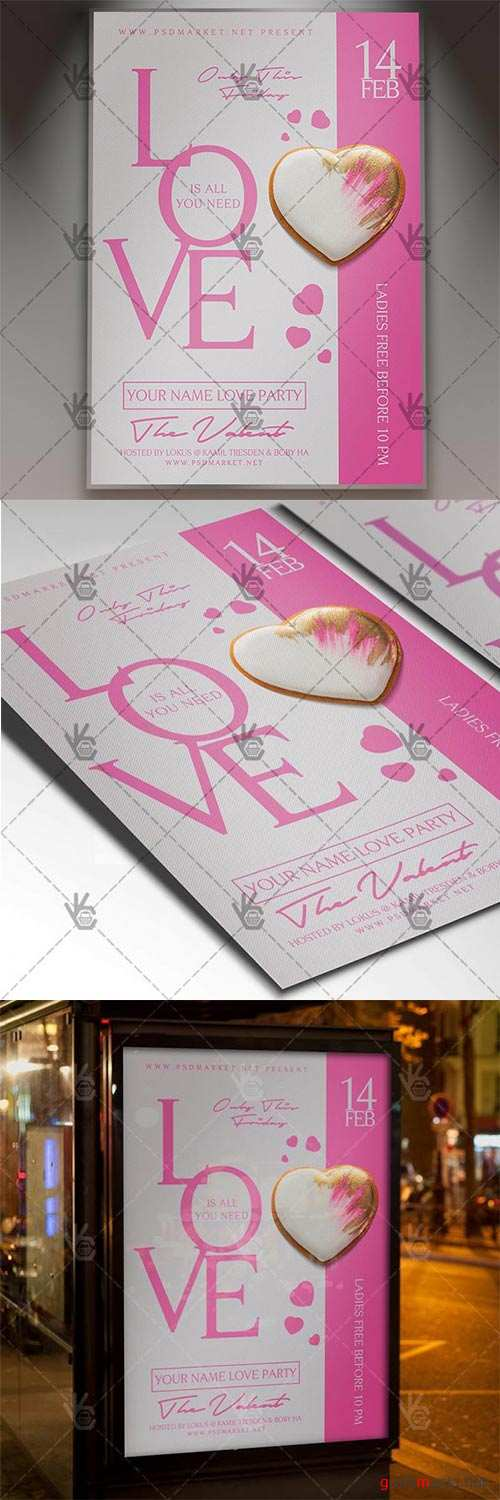 Love Party – Valentines Flyer PSD Template