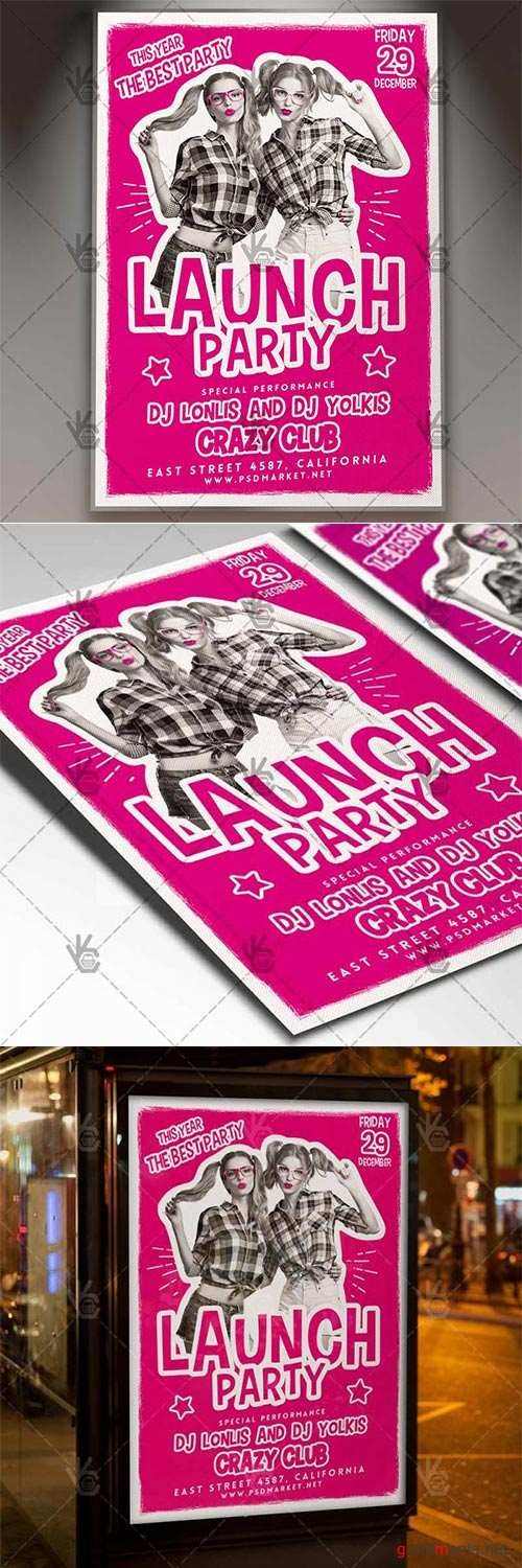Launch Party – Club Flyer PSD Template