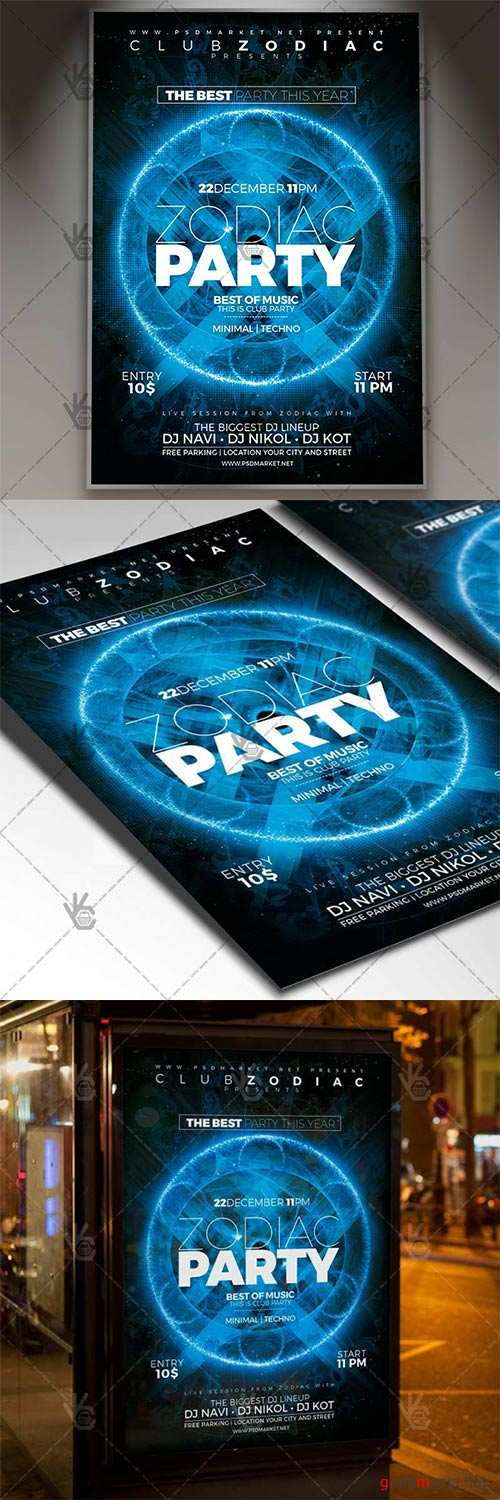 Zodiac Party Night – Club Flyer PSD Template