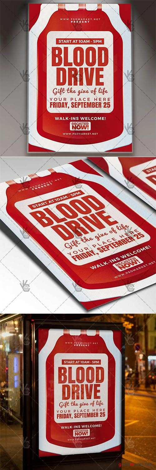Blood Drive Flyer – Community PSD Template
