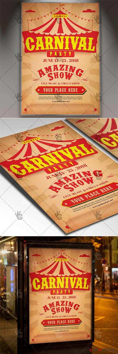 Carnival Amazing Show – Circus Flyer PSD Template
