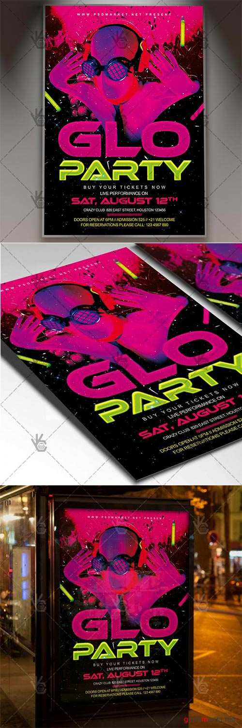 GLO Party – Club Flyer PSD Template