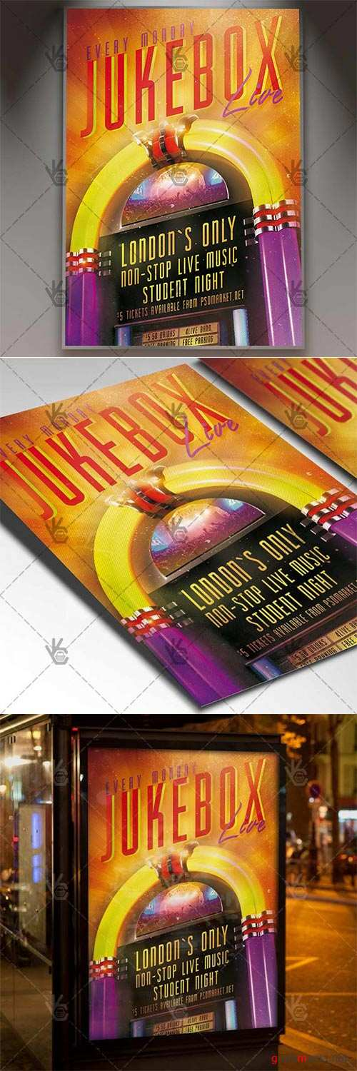 Jukebox Live – Club Flyer PSD Template