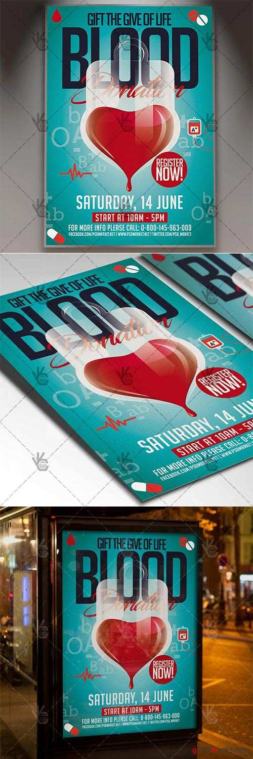 Blood Donation Flyer – Community PSD Template