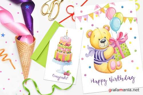 Happy Birthday hand painted watercolor collection - 81071