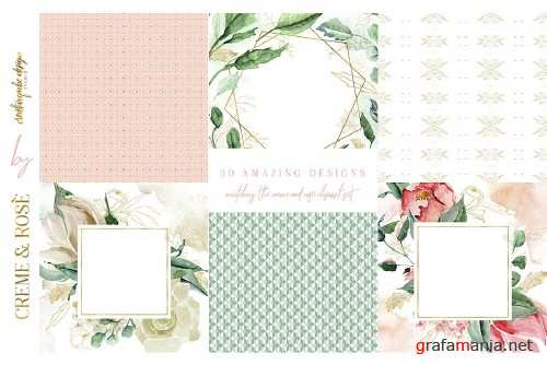 Creme and Rose Digital Papers - 2777538
