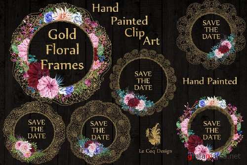 Gold Lace frames clipart - 1160423