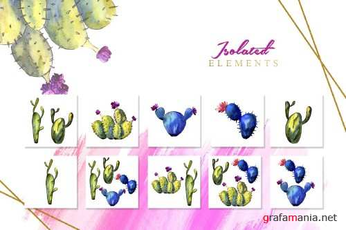 Green and blue cactuses PNG set - 3100483
