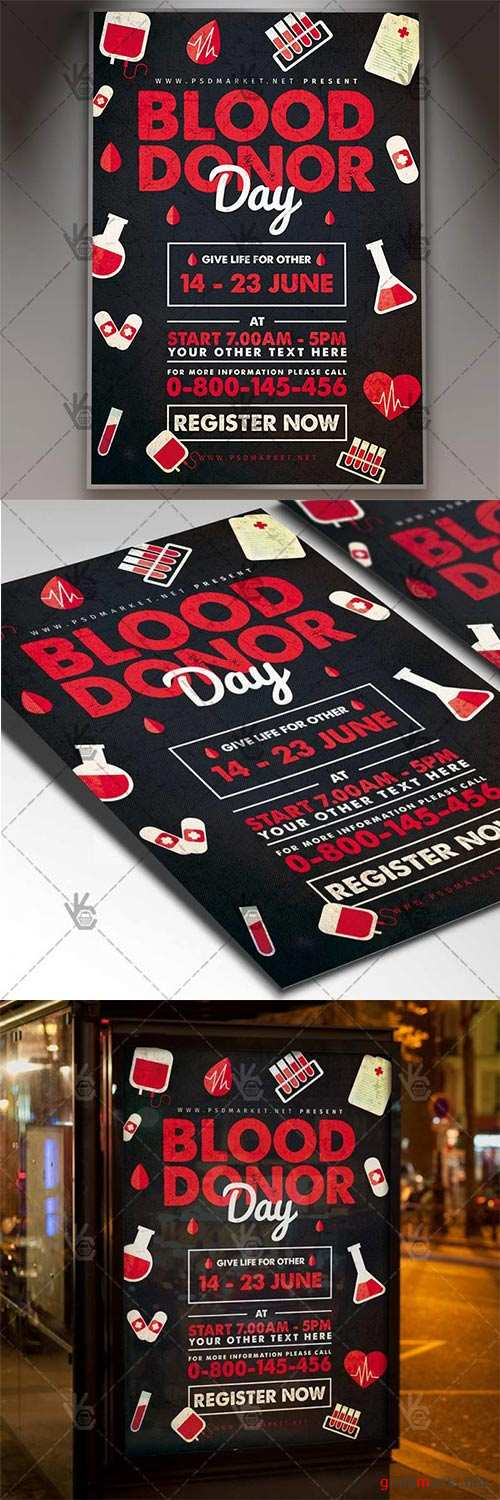 Blood Donor Day Flyer – Community PSD Template