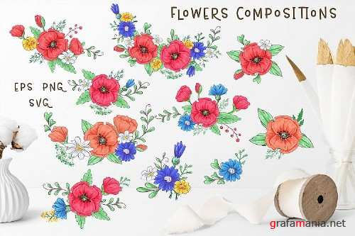Cute Foxes and Poppies - Vector Clip Art - 3720165