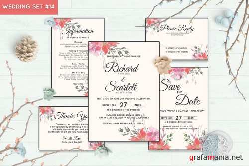 Wedding Invitation Set #14 Watercolor Floral Flower Style - 239698