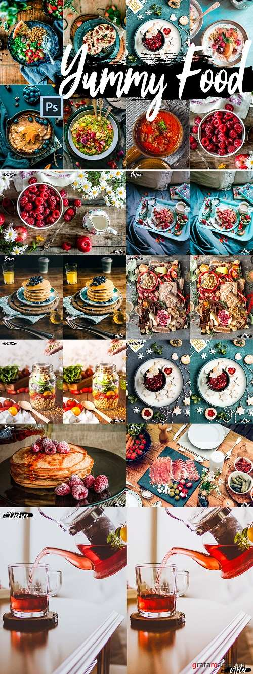 Neo Yummy Food Theme Color Grading photoshop actions - 247490
