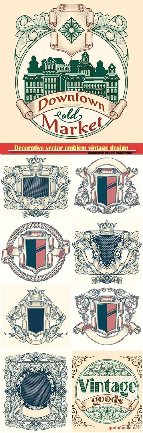 Decorative vector emblem vintage design