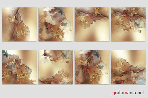 Watercolor Gold and Foil Textures - 3723076