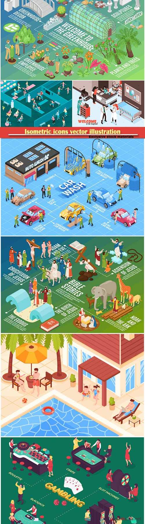 Isometric icons vector illustration, banner design template # 37