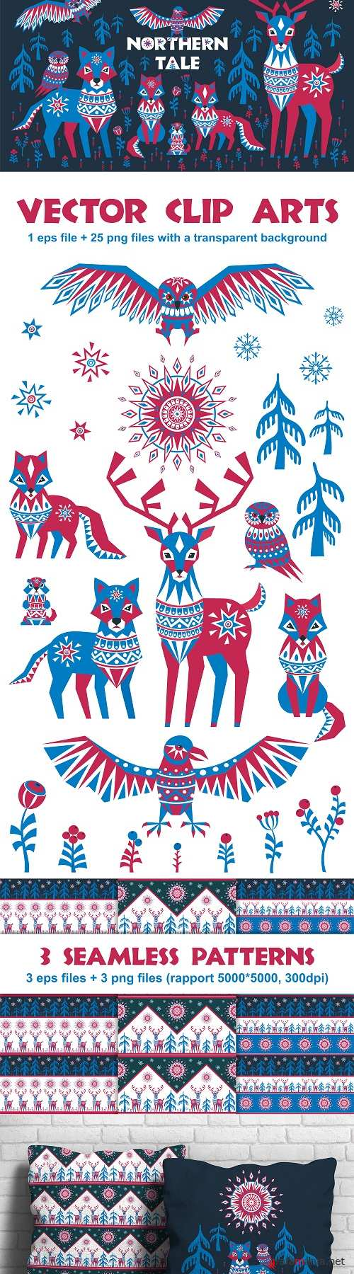 Northern tale. Arctic animals in Tribal style - 83300
