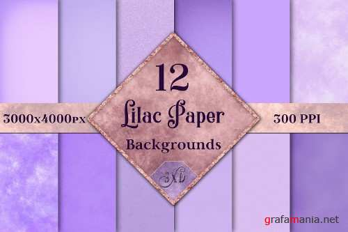 Lilac Paper Backgrounds - 12 Image Textures Set - 251725