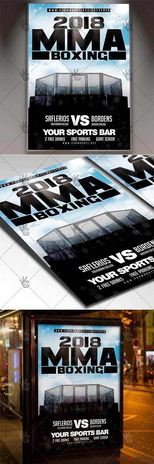 MMA Boxing – Sport Flyer PSD Template