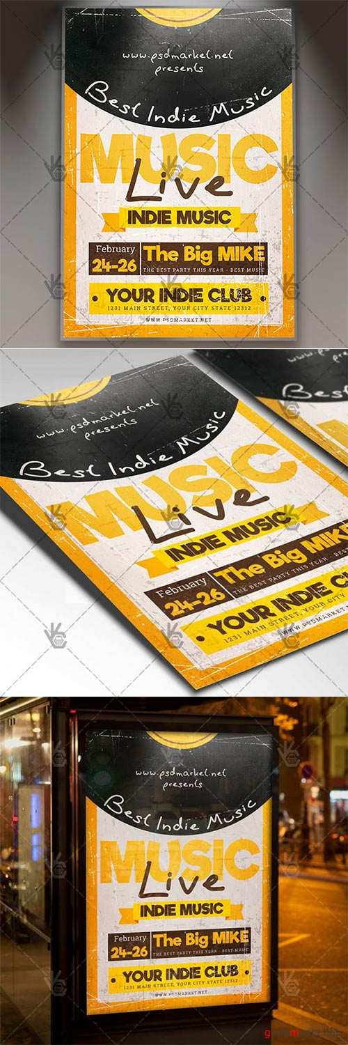 Indie Music Live – Club Flyer PSD Template