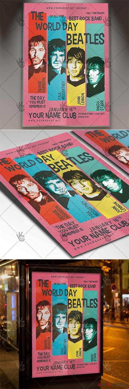 The Beatles Day – Club Flyer PSD Template