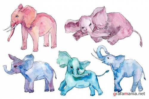 Baby elephant for baby shower cards Watercolor png - 253440