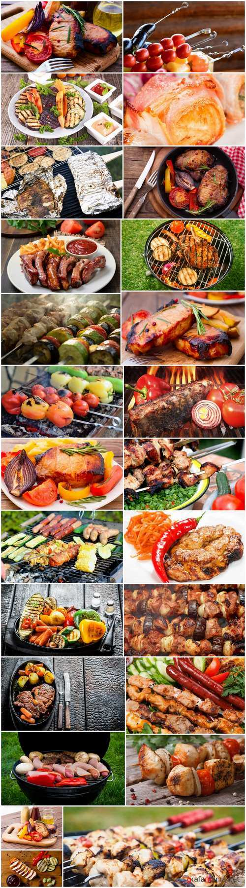 Barbecue grill grilled meat fruit vegetables 25 HQ Jpeg