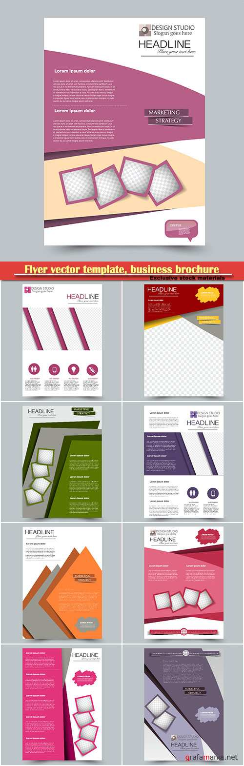 Flyer vector template, business brochure, magazine cover # 37