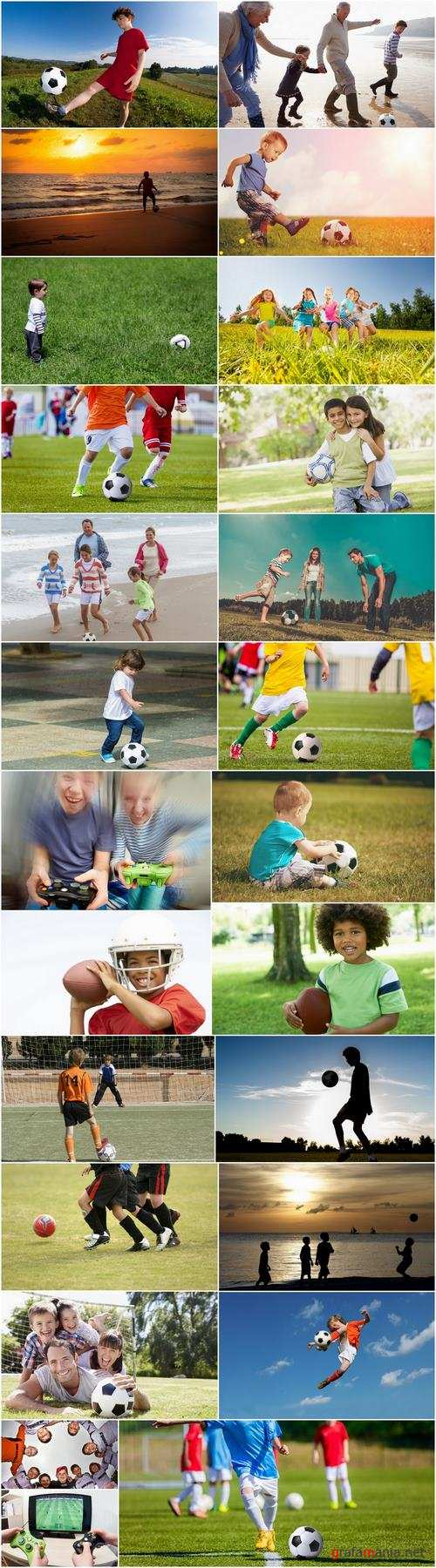 Child adolescent children playing football ball soccer field 25 HQ Jpeg