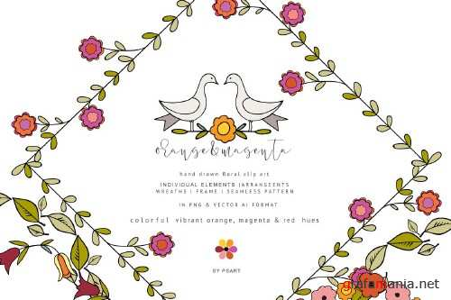 Hand-Draw Flowers Clipart Set - 3767381
