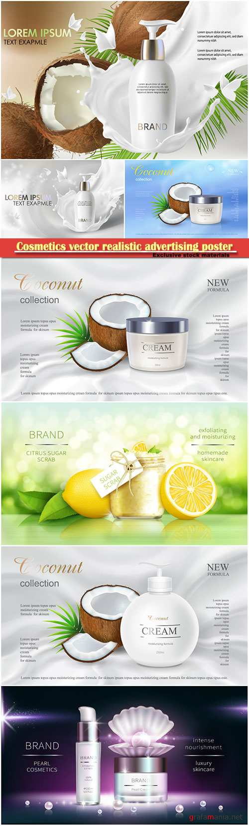 Cosmetics vector realistic advertising poster, packaging for cosmetic products, mockup for glossy magazine