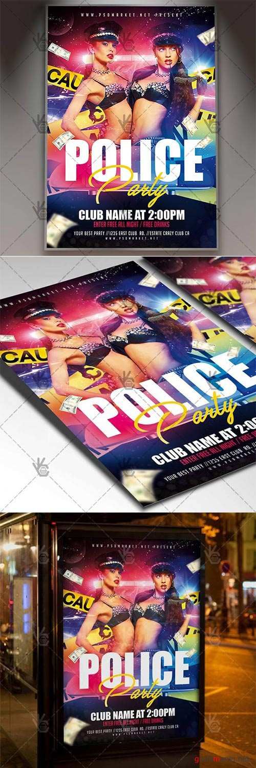 Police Party – Club Flyer PSD Template