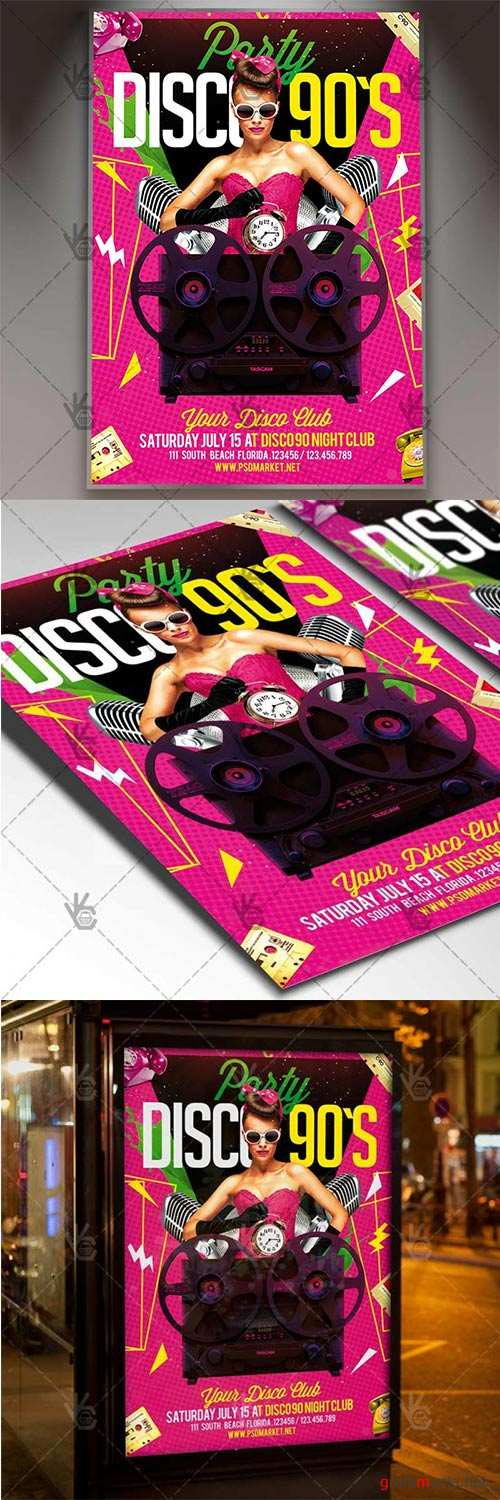 Disco 90s Night – Club Flyer PSD Template