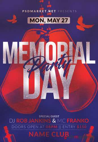 MEMORIAL DAY CLUB PARTY FLYER – PSD TEMPLATE