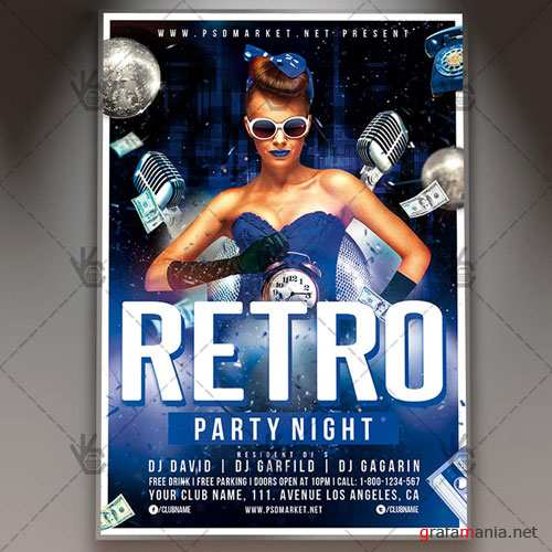 RETRO PARTY NIGHT FLYER - PSD TEMPLATE