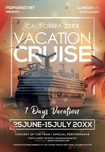 CRUISE VACATION FLYER – PSD TEMPLATE
