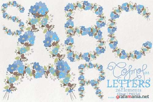 Cosmos 02 - Blue Letters Flower Clipart