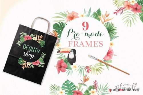 Tropical Watercolor Frames Flamingo - 2479597