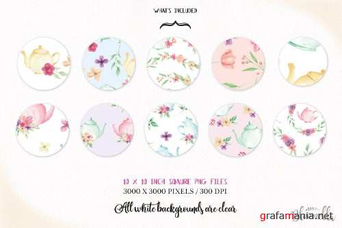 Watercolor Teapot Floral Patterns - 2366627