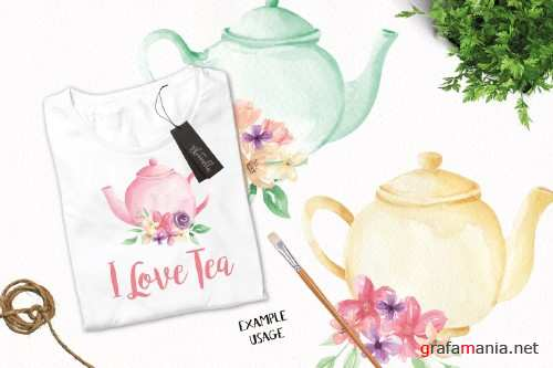Watercolor Floral Teapot Wonderland - 2639340