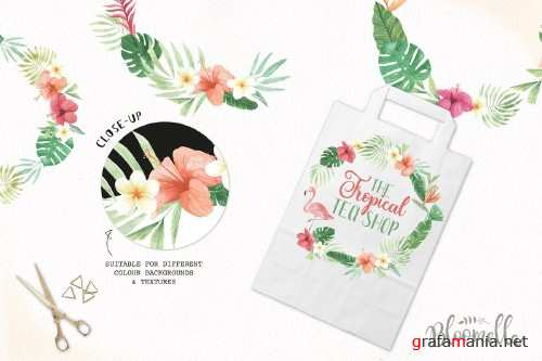 Tropical Watercolor Flamingo Wreaths - 2463970