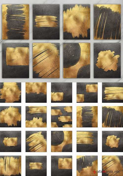 Gold and Black Brush & Foil 20 Textures - 243653