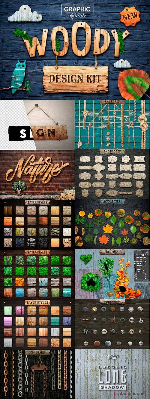 WOODY Texture Photoshop Styles KIT FULL 23551039