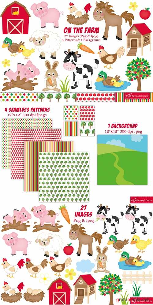 Farm clipart, Farm animals graphics & illustrations - 76286