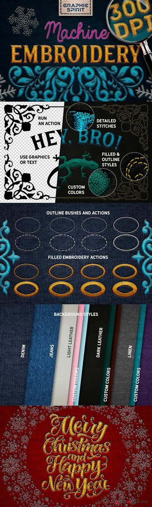Machine Embroidery Actions For Adobe Photoshop - 23583687