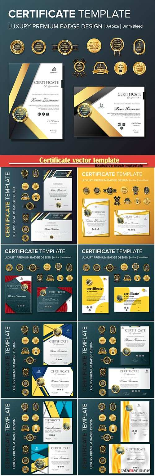 Certificate vector template with luxury and modern pattern,diploma