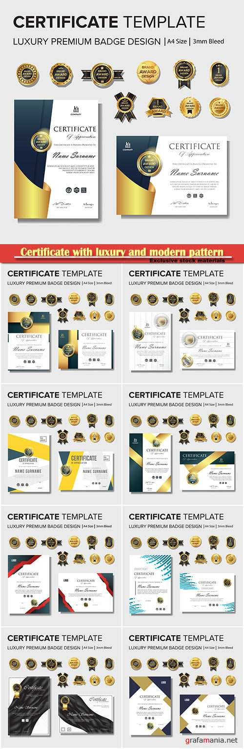 Certificate with luxury and modern pattern, diploma vector template